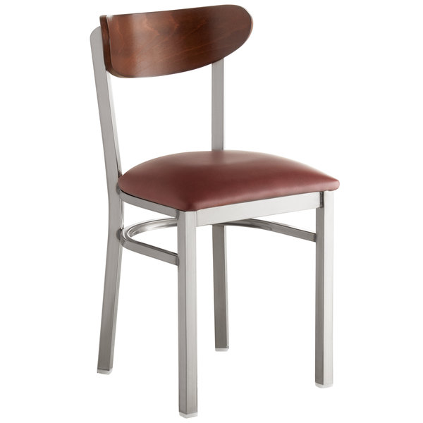 Lancaster Table & Seating Boomerang Clear Coat Chair with Burgundy Vinyl Seat and Antique Walnut Back Main Image 1
