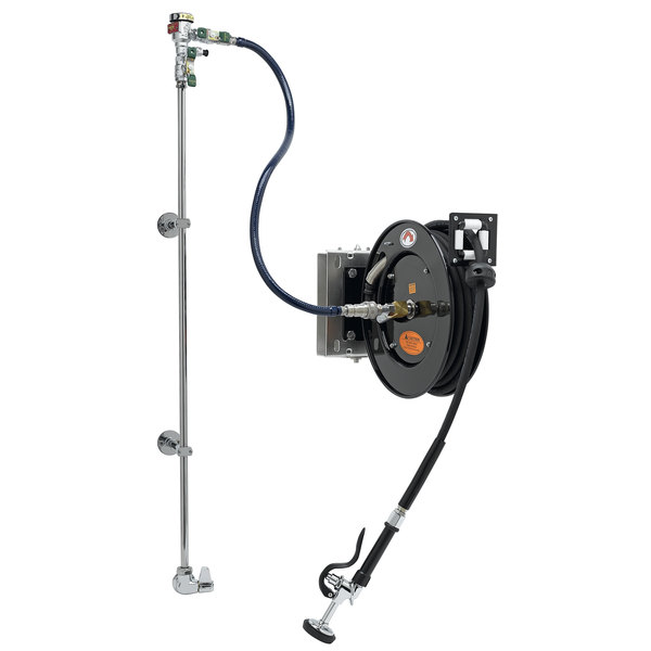 Equip By T S 5hr 232 01we2 35 Open Hose Reel System With Single Temperature Wall Mount Base Faucet Swing Wall Bracket And High Flow Spray Valve