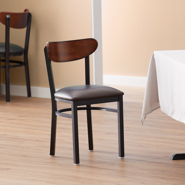 Lancaster Table & Seating Boomerang Black Chair with Dark Brown Vinyl Seat and Antique Walnut Back Main Image 4