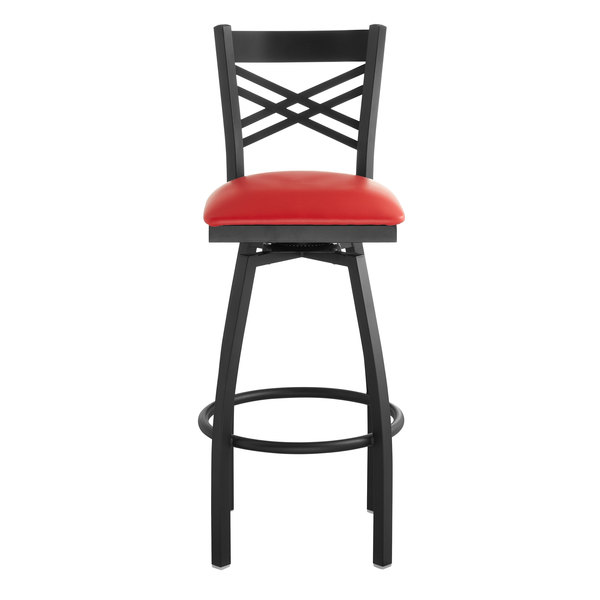 Incredible Lancaster Table Seating Cross Back Bar Height Black Swivel Chair With Red Vinyl Seat Beatyapartments Chair Design Images Beatyapartmentscom