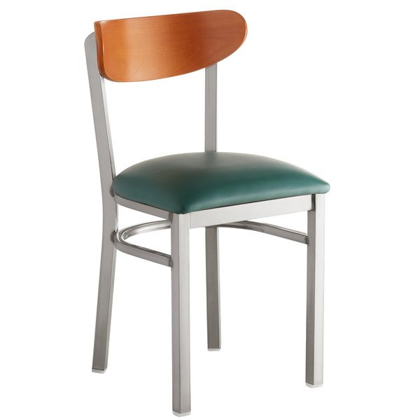 Lancaster Table & Seating Boomerang Clear Coat Chair with Green Vinyl Seat and Cherry Back Main Image 1