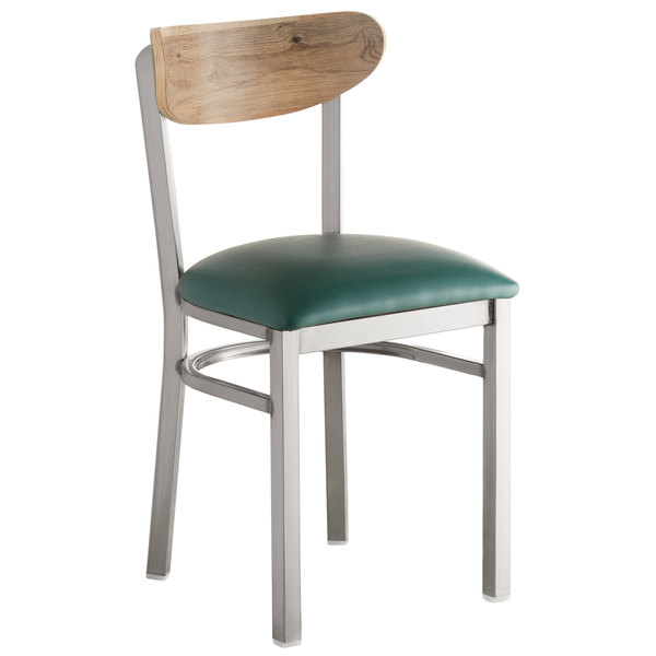 Lancaster Table & Seating Boomerang Clear Coat Chair with Green Vinyl Seat and Driftwood Back Main Image 1