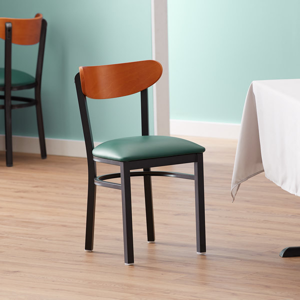 Lancaster Table & Seating Boomerang Black Chair with Green Vinyl Seat and Cherry Back Main Image 4