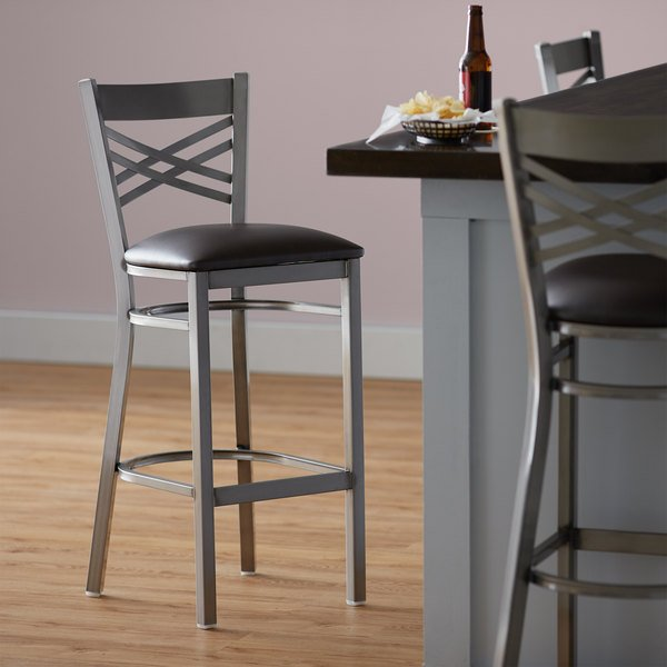 """Detached Seat Lancaster Table & Seating Clear Coat Steel Cross Back Bar Height Chair with 2 1/2"""" Dark Brown Vinyl Seat"""