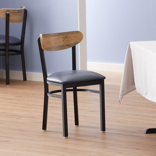Lancaster Table & Seating Boomerang Black Chair with Navy Vinyl Seat and Driftwood Back Main Image 4