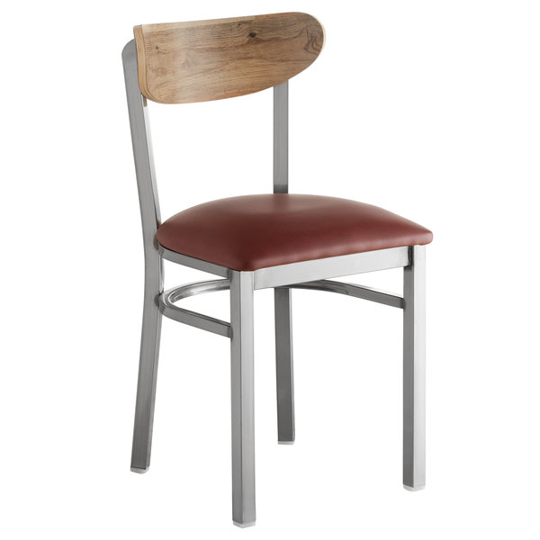 Lancaster Table & Seating Boomerang Clear Coat Chair with Burgundy Vinyl Seat and Driftwood Back Main Image 1