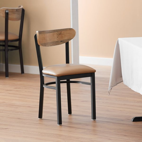 Lancaster Table & Seating Boomerang Black Chair with Light Brown Vinyl Seat and Driftwood Back Main Image 4