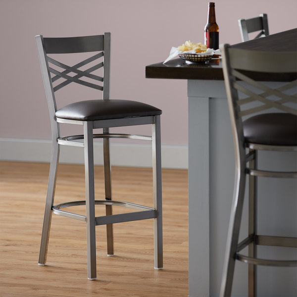"""Preassembled Lancaster Table & Seating Clear Coat Steel Cross Back Bar Height Chair with 2 1/2"""" Dark Brown Vinyl Seat"""
