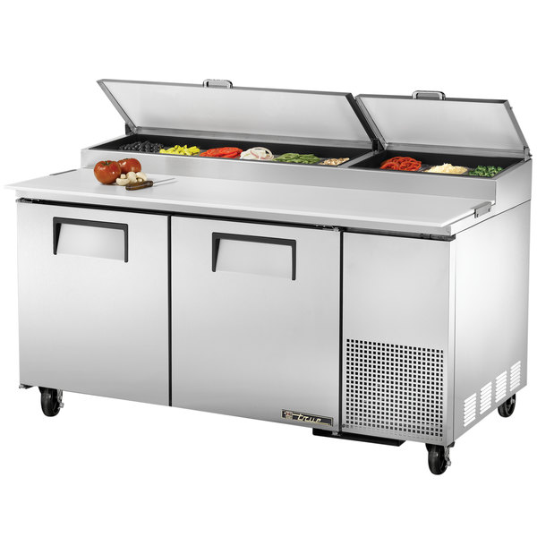 """True TPP-67 67"""" Two Door Refrigerated Pizza Prep Table"""