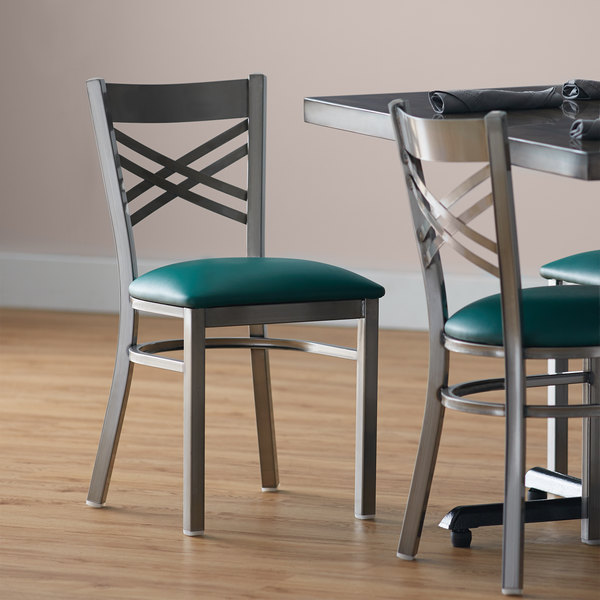 """Lancaster Table & Seating Clear Coat Steel Cross Back Chair with 2 1/2"""" Green Vinyl Seat Main Image 4"""