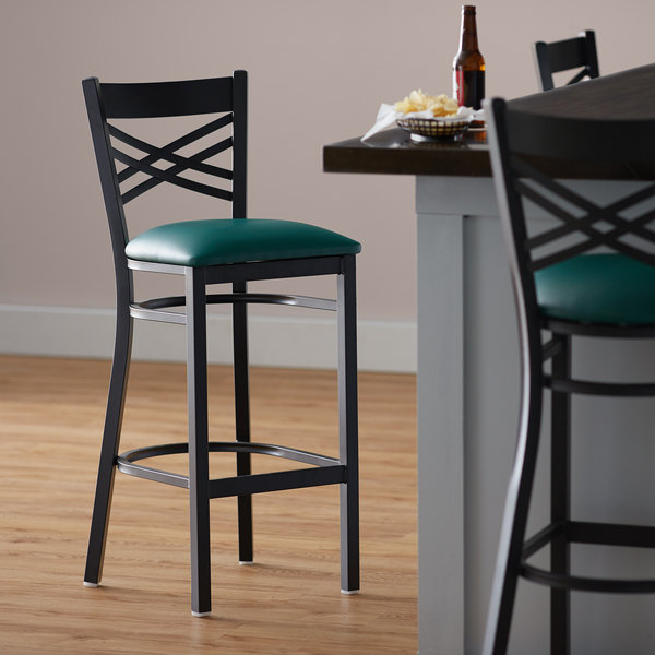Lancaster Table & Seating Cross Back Bar Height Black Chair with Green Vinyl Seat