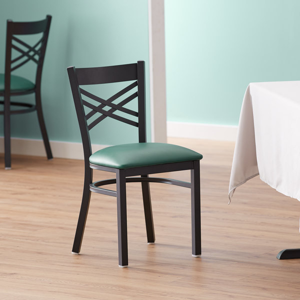 Lancaster Table & Seating Cross Back Black Chair with Green Vinyl Seat