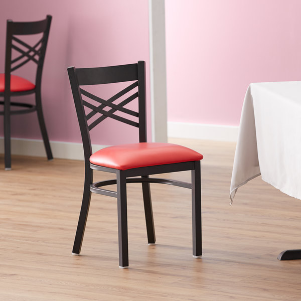Lancaster Table & Seating Cross Back Black Chair with Red Vinyl Seat