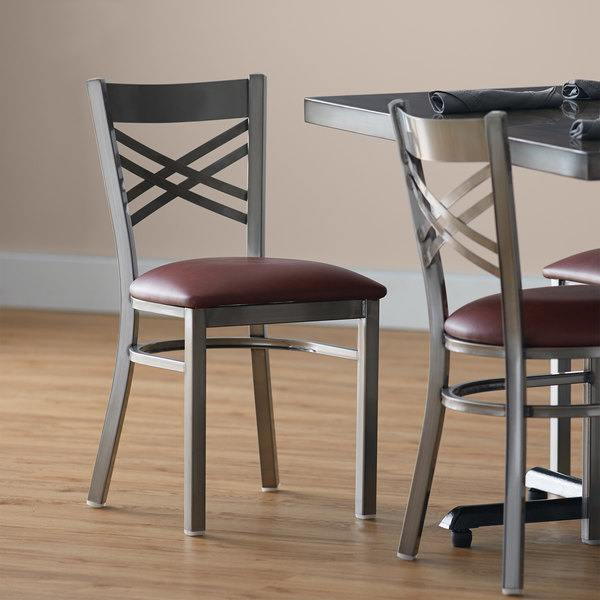 """Lancaster Table & Seating Clear Coat Steel Cross Back Chair with 2 1/2"""" Burgundy Vinyl Seat Main Image 4"""
