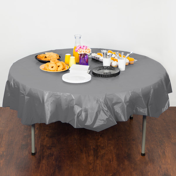 """Creative Converting 339644 82"""" Glamour Gray OctyRound Disposable Plastic Table Cover - 12/Case Main Image 3"""