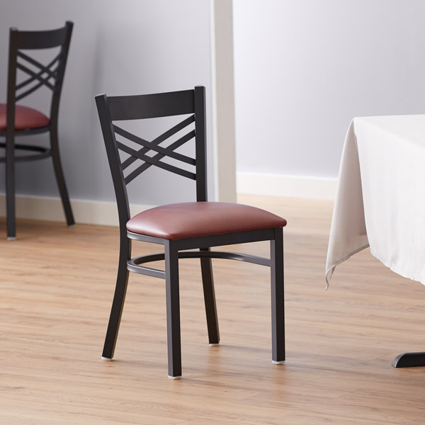 Lancaster Table & Seating Cross Back Black Chair with Burgundy Vinyl Seat Main Image 4