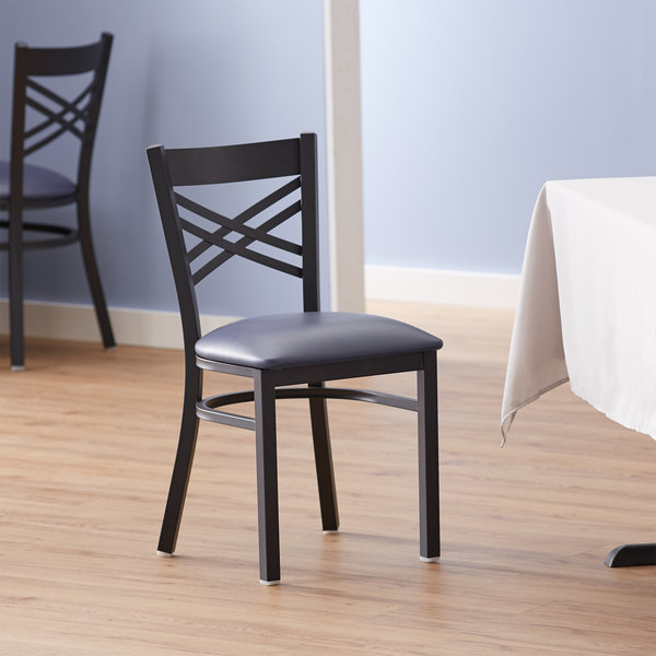 Lancaster Table & Seating Cross Back Black Chair with Navy Vinyl Seat Main Image 4