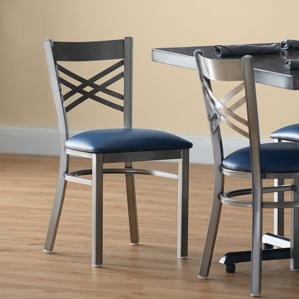 "Lancaster Table & Seating Clear Coat Steel Cross Back Chair with 2 1/2"" Navy Vinyl Seat Main Image 4"