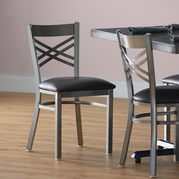 """Lancaster Table & Seating Clear Coat Steel Cross Back Chair with 2 1/2"""" Dark Brown Vinyl Seat Main Image 4"""