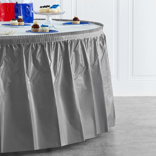 "Creative Converting 339643 14' x 29"" Glamour Gray Plastic Table Skirt Main Image 4"