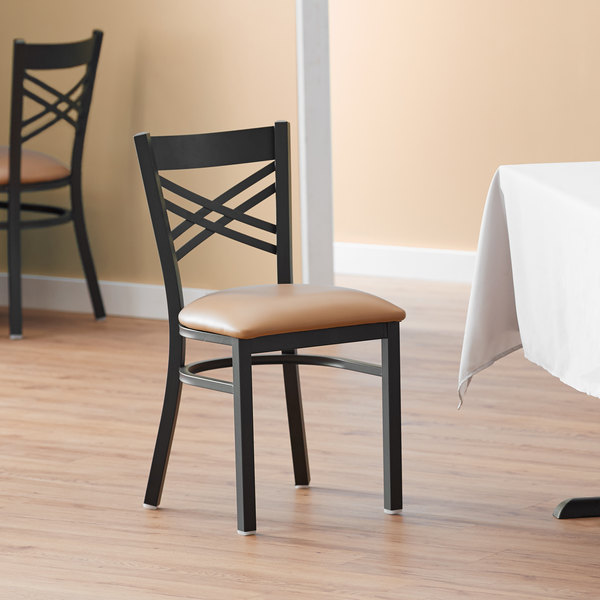 Lancaster Table & Seating Cross Back Black Chair with Light Brown Vinyl Seat Main Image 4