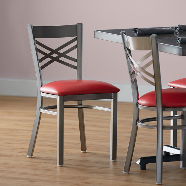 """Lancaster Table & Seating Clear Coat Steel Cross Back Chair with 2 1/2"""" Red Vinyl Seat Main Image 4"""