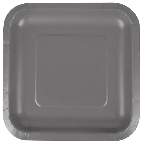 """Creative Converting 339649 7"""" Square Glamour Gray Paper Plate - 180/Case"""