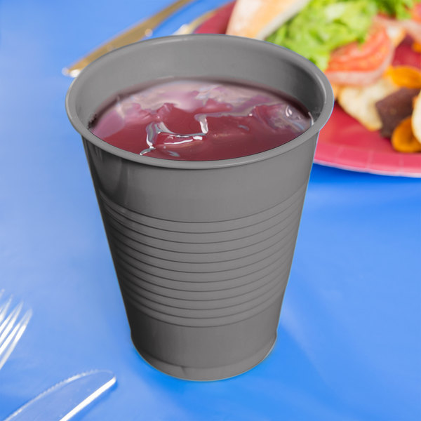 Creative Converting 339650 16 oz. Glamour Gray Plastic Cup - 240/Case Main Image 2