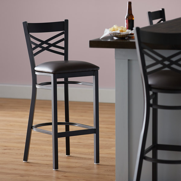Lancaster Table & Seating Cross Back Bar Height Black Chair with Dark Brown Vinyl Seat