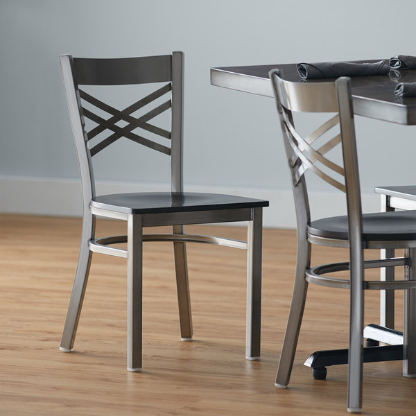 Lancaster Table & Seating Clear Coat Steel Cross Back Chair with Black Wood Seat Main Image 4