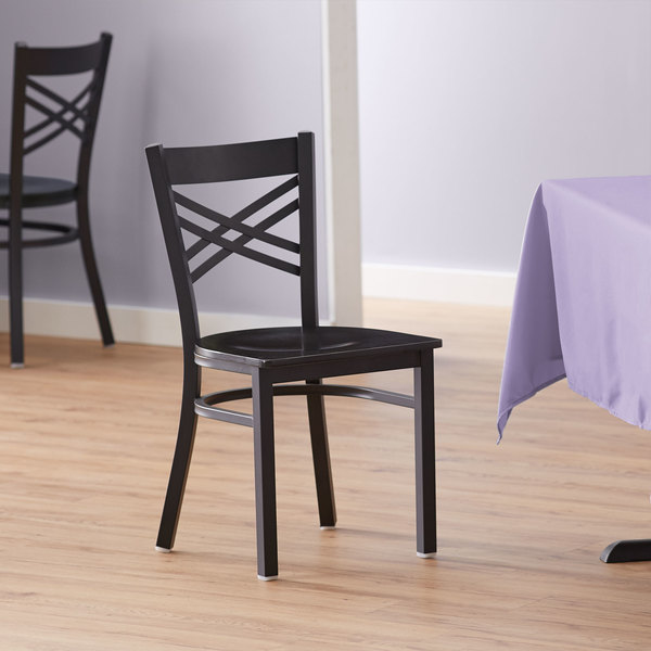 Lancaster Table & Seating Cross Back Black Chair with Black Wood Seat Main Image 4
