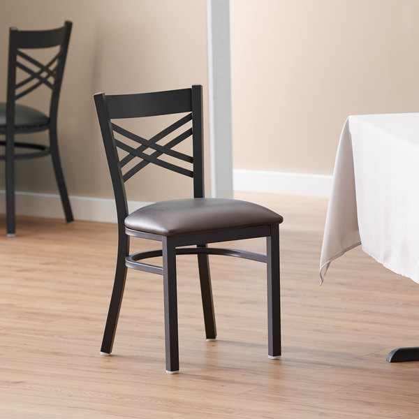 Lancaster Table & Seating Cross Back Black Chair with Dark Brown Vinyl Seat Main Image 4