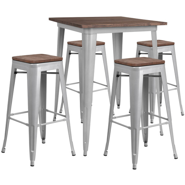 Groovy Flash Furniture Ch Wd Tbch 6 Gg 31 1 2 Square Rustic Galvanized Steel And Wood Bar Height Table With 4 Backless Stools Ocoug Best Dining Table And Chair Ideas Images Ocougorg
