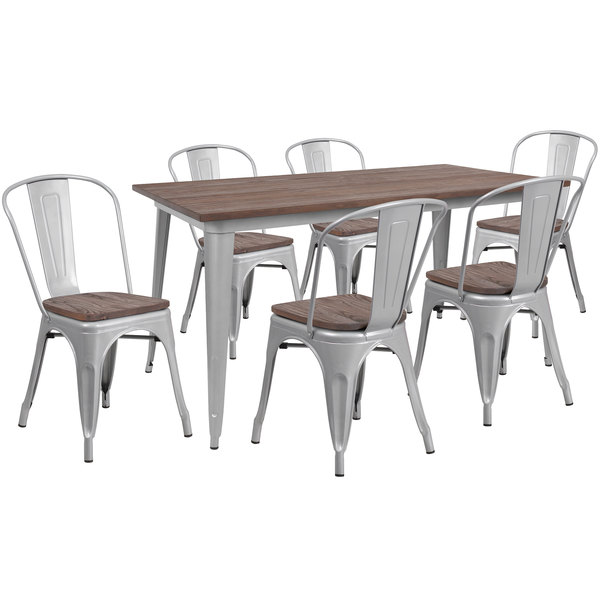 Superb Flash Furniture Ch Wd Tbch 14 Gg 30 1 4 X 60 Rustic Galvanized Steel And Wood Table With 6 Stacking Chairs Andrewgaddart Wooden Chair Designs For Living Room Andrewgaddartcom