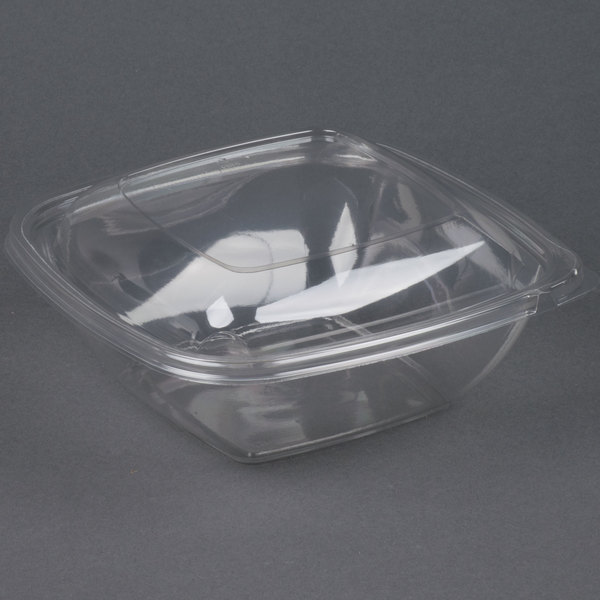 Sabert C19064TR75 Bowl2 64 oz. Clear PETE Square Tamper Evident Bowl with Lid  - 75/Case
