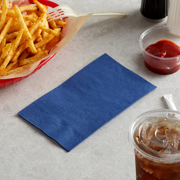 "Choice 15"" x 17"" Customizable Navy Blue 2-Ply Paper Dinner Napkins - 125/Pack"
