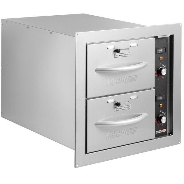 ServIt WDNBI-2 Double Narrow Built-In Drawer Warmer - 900W, 120V Main Image 1