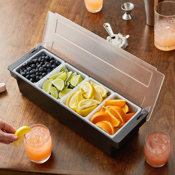 Stainless Steel with  4 Compartments Commerical Quality for Bar /& Restaurant Use Condiment Server Organizer Tablecraft Condiment Dispenser