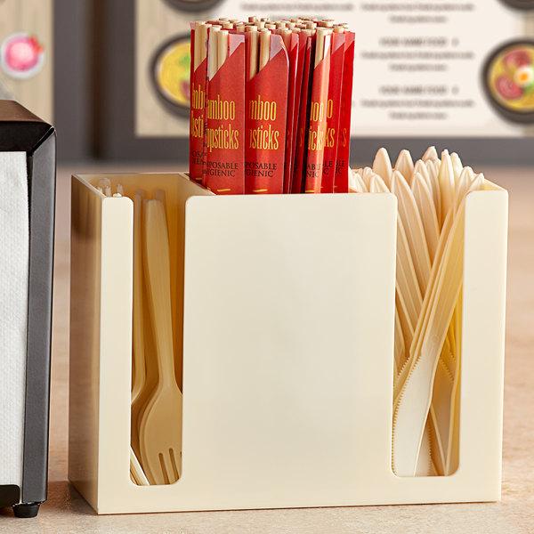 Ivory Plastic 3-Compartment Chopstick Organizer Main Image 2