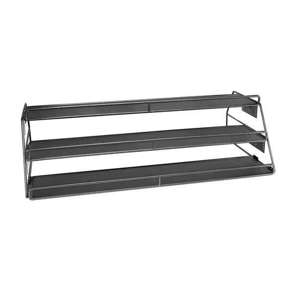 "Delfin DS-48243-V26 Simply Steel 48"" x 15 1/2"" Adjustable Titanium Three Shelf Merchandiser"