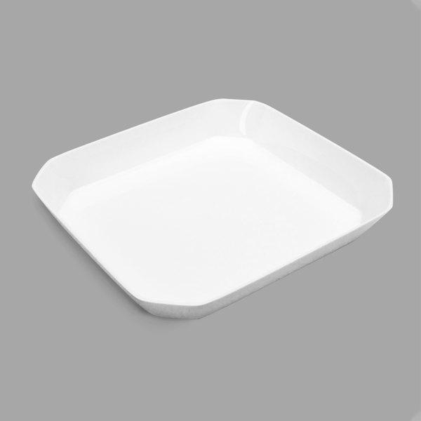 Delfin BCC-1210-20 104 oz. Cut Corner White Rectangular Acrylic Bowl
