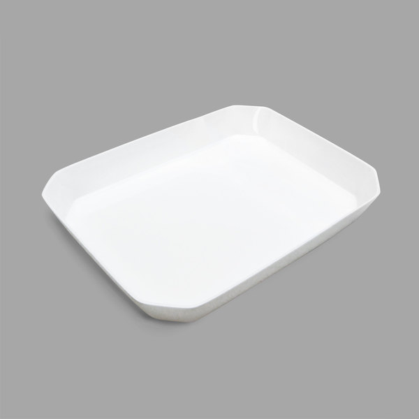 Delfin BCC-1812-20 Cut Corner White 192 oz. Rectangular Acrylic Bowl Main Image 1