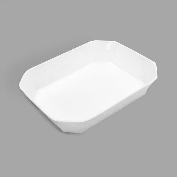 Delfin BCC-108-20 64 oz. Cut Corner White Rectangular Acrylic Bowl Main Image 1