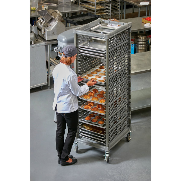 Cambro UPR1826FA40 Camshelving® Ultimate 40 Pan End Load Bun / Sheet Pan Rack with Metal Casters - Assembled Main Image 2