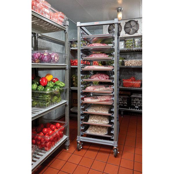 Cambro UPR1826FA20 Camshelving® Ultimate 20 Pan End Load Bun / Sheet Pan Rack with Metal Casters - Assembled Main Image 2