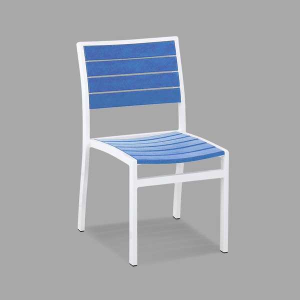 POLYWOOD A100-13PB Pacific Blue Euro Stackable Dining Height Side Chair with Satin White Frame Main Image 1