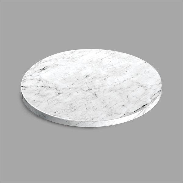 "Delfin FSRD-11-M20 11"" x 3/4"" Round Melamine White Faux Carrara Marble Serving Board"