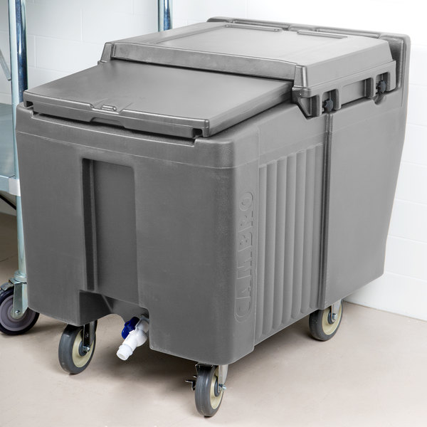 Cambro ICS125L191 SlidingLid™ Granite Gray Portable Ice Bin - 125 lb. Capacity