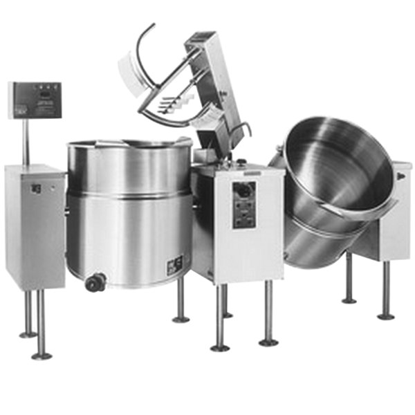 Cleveland TMKEL-80-T 80 Gallon Tilting 2/3 Steam Jacketed Electric Tabletop Twin Mixer Kettle - 208/240V Main Image 1