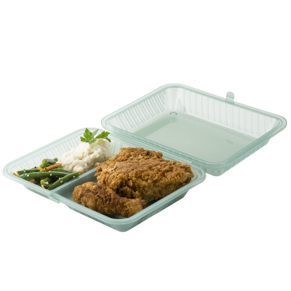 """GET EC-15 10"""" x 8"""" x 3"""" Jade Green Customizable 2-Compartment Reusable Eco-Takeouts Container - 12/Case"""